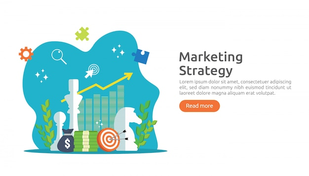 Marketing strategy and return on investment roi concept Premium Vector
