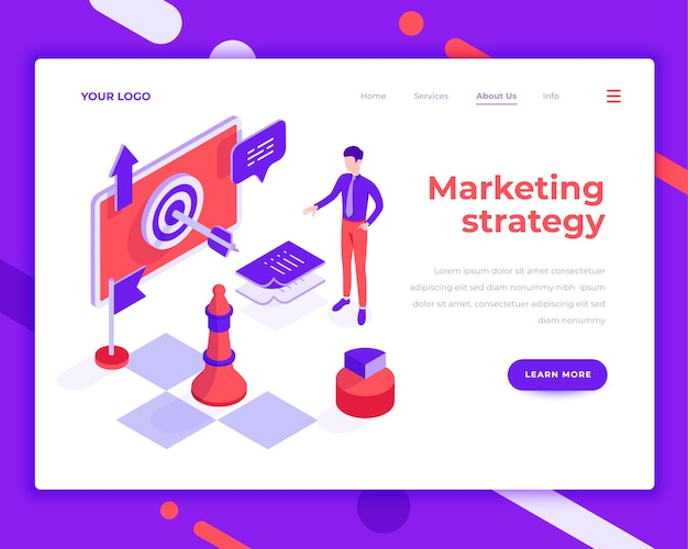 Marketing strategy teamwork people and interact with site isometric vector illustration Premium Vector