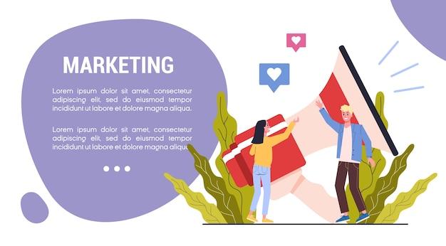 마케팅 전략 웹 배너 개념입니다. 광고 및 마케팅 개념. 프리미엄 벡터