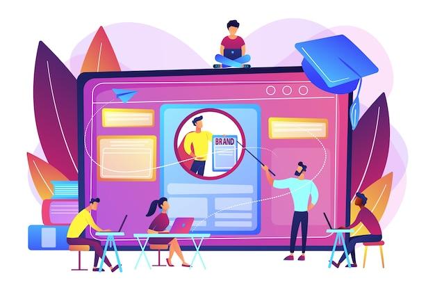 Студенты-маркетологи создают фирменный стиль. курс персонального брендинга, стратегическое саморекламное образование, концепция онлайн-курсов персонального брендинга. Бесплатные векторы