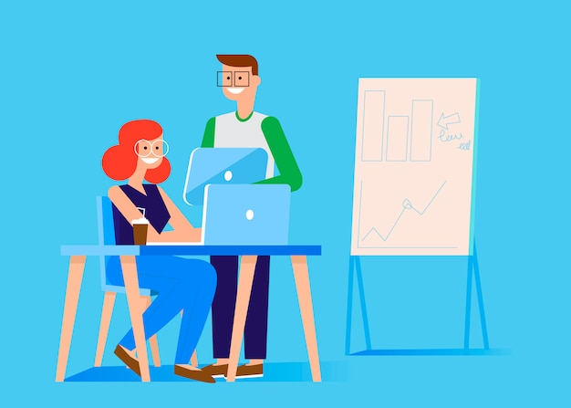 Marketing team banner. man and woman in the office at the computer and tablet Free Vector