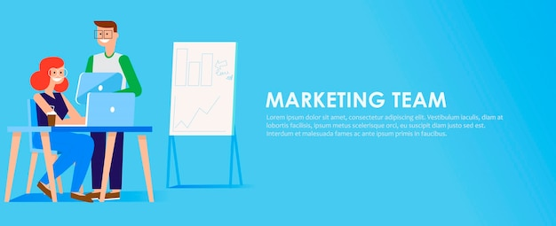 Marketing team banner Free Vector