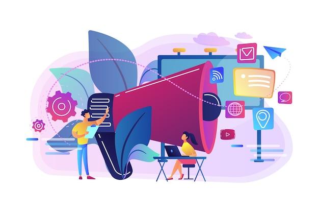 Lavoro di squadra di marketing e megafono enorme con icone dei media. marketing e branding, cartelloni pubblicitari e annunci, concetto di strategie di marketing Vettore gratuito