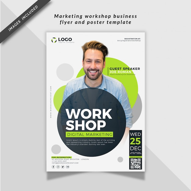 Marketing workshop business flyer and poster template Premium Vector