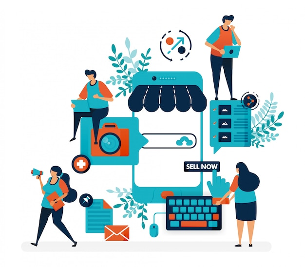 Marketplace platform for selling with smartphone. create shop or business with a mobile system. online internet promotion. Premium Vector
