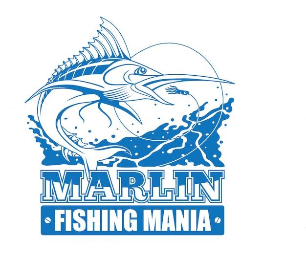 Marlin fishing mania Premium Vector