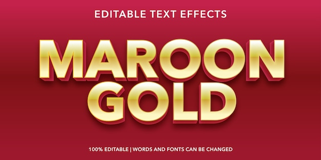 Maroon gold text 3d style editable text effect Premium Vector