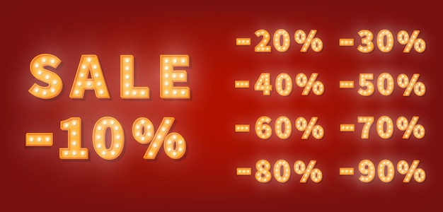 Номера скидки продажи шатра, набор номеров золотой лампочки. шаблон цены со скидкой Premium векторы