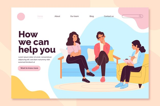 Marriage counseling how can we help landing page Free Vector