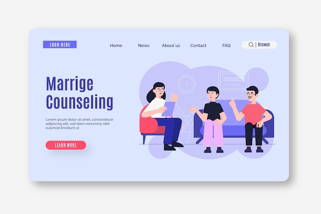 Marriage counseling - landing page Free Vector