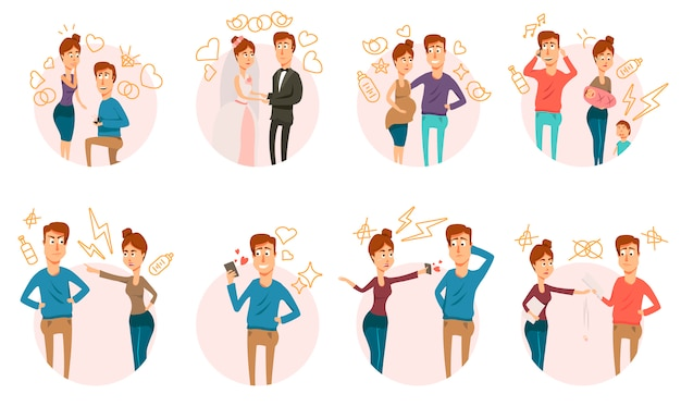 Marriage divorce icons collection Free Vector