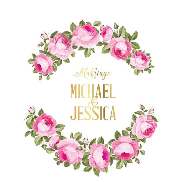 色のバラの花の結婚招待状。 Premiumベクター