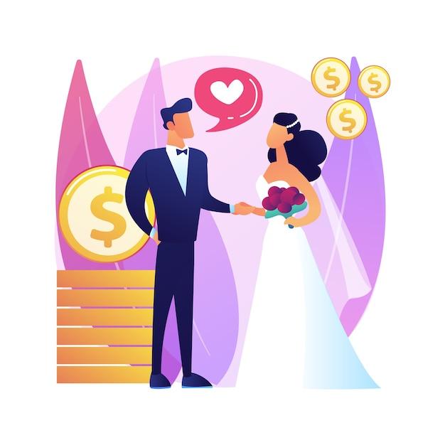 Брак по расчету абстрактная концепция иллюстрации. политический брак, финансовая мотивация, старый богатый муж, обручальные кольца, долларовые банкноты Бесплатные векторы