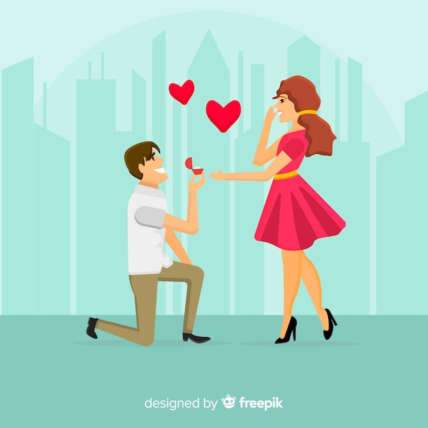 Marriage proposal composition with flat design Free Vector