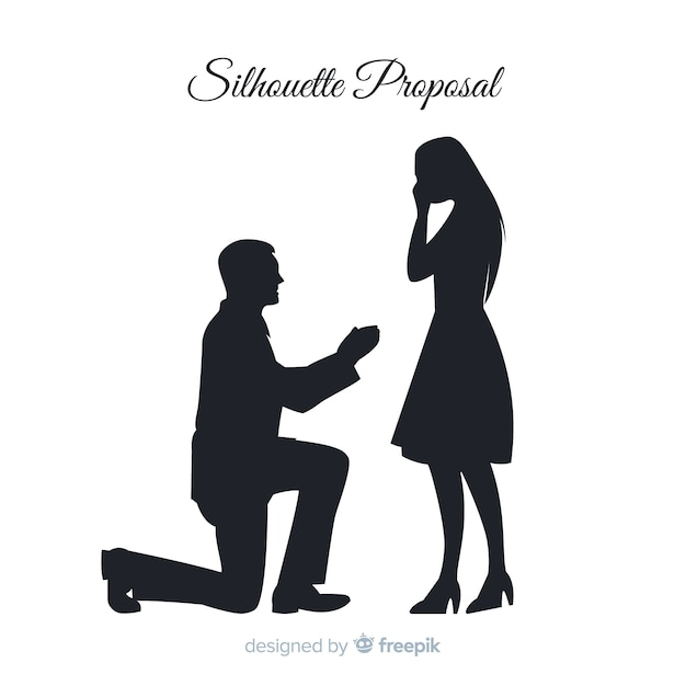 Marriage proposal composition with silhouette style Free Vector