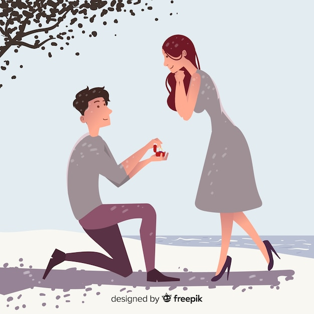 Marriage proposal concept Free Vector