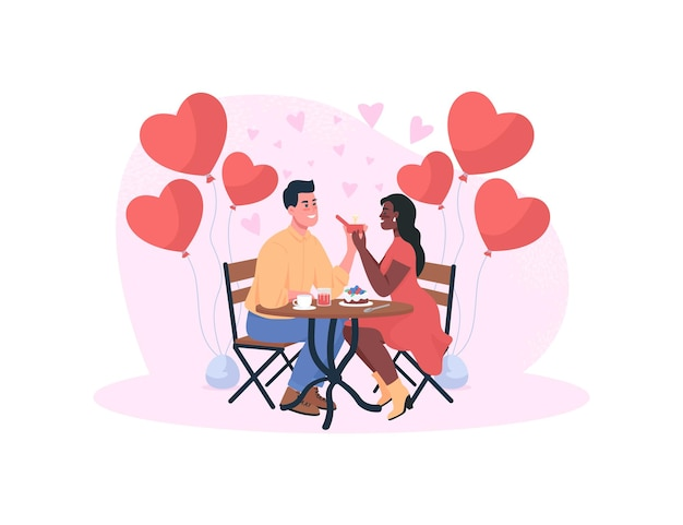 Marriage proposal on romantic dinner  concept  illustration. lovers engagement. Premium Vector