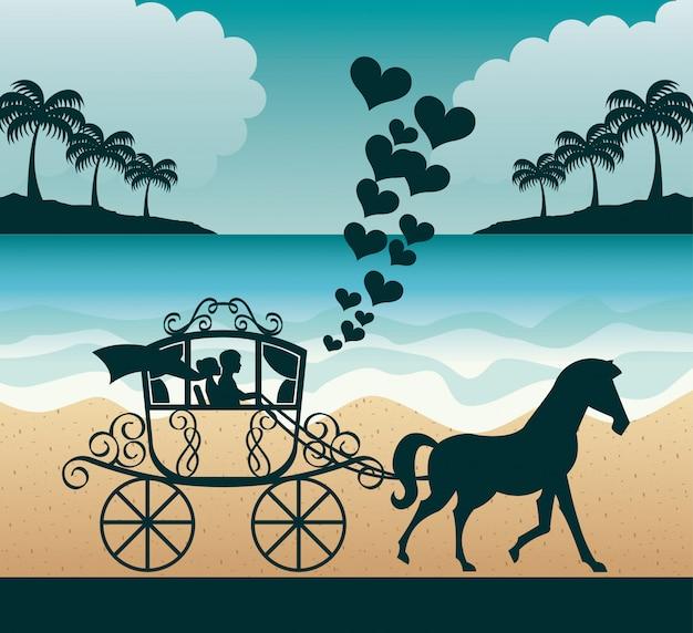 Marriage vacations Premium Vector