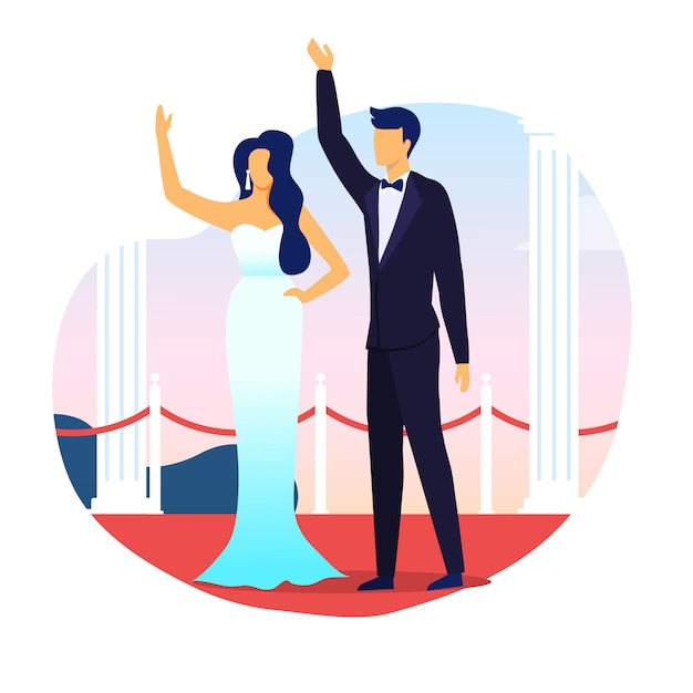 Married celebrities waving hands flat illustration Premium Vector