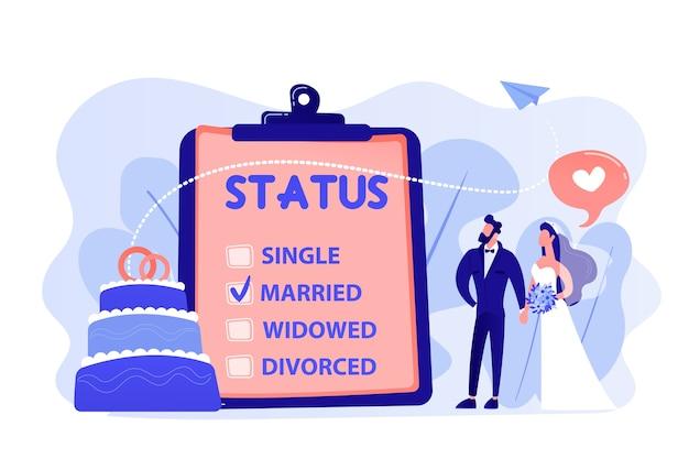 클립 보드에있는 결혼 한 부부와 결혼 상태, 작은 사람들. 관계 상태, 결혼 상태 및 별거, 결혼 및 이혼 개념. 분홍빛이 도는 산호 bluevector 고립 된 그림 무료 벡터
