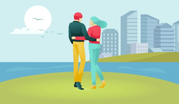 Married couple characters walking on river band Premium Vector