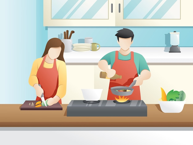 A married couple cooks together Premium Vector