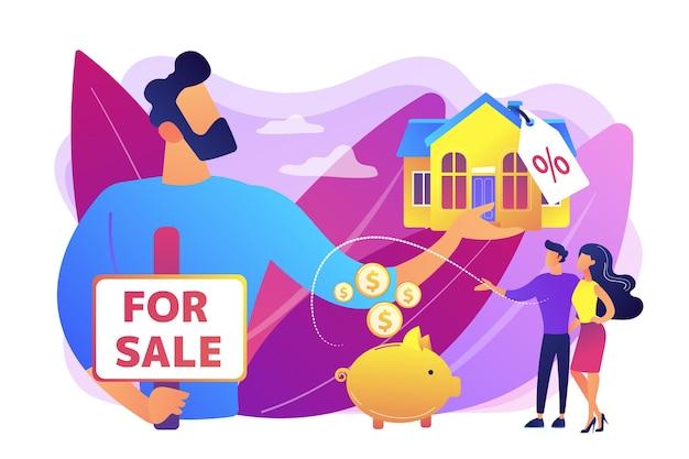 집 검색 부부. 할인 된 부동산을 제공하는 부동산. 집 판매, 판매 집 최고의 거래, 부동산 에이전트 서비스 개념. 밝고 활기찬 보라색 고립 된 그림 무료 벡터