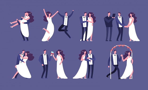 Married couples. newly wed bride and groom, wedding celebration cartoon characters. just married happy people vector set Premium Vector