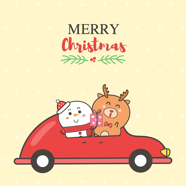 Marry christmas card snowman and reindeer on the red car cartoon hand drawn. Premium Vector
