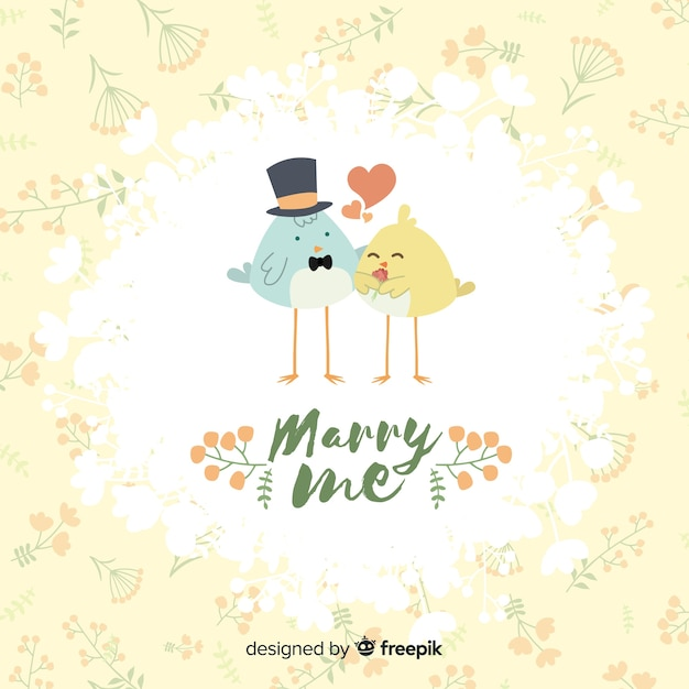 Marry me illustration with cute birds Free Vector