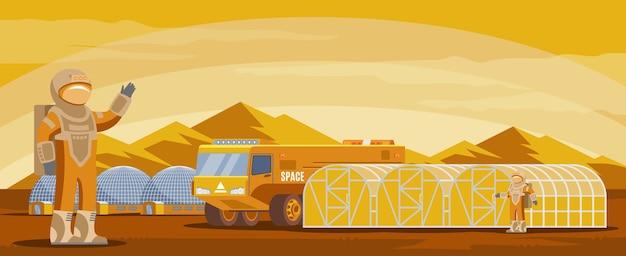 宇宙飛行士、トラック、研究、山の風景の建物と火星の植民地化の未来的なテンプレート 無料ベクター