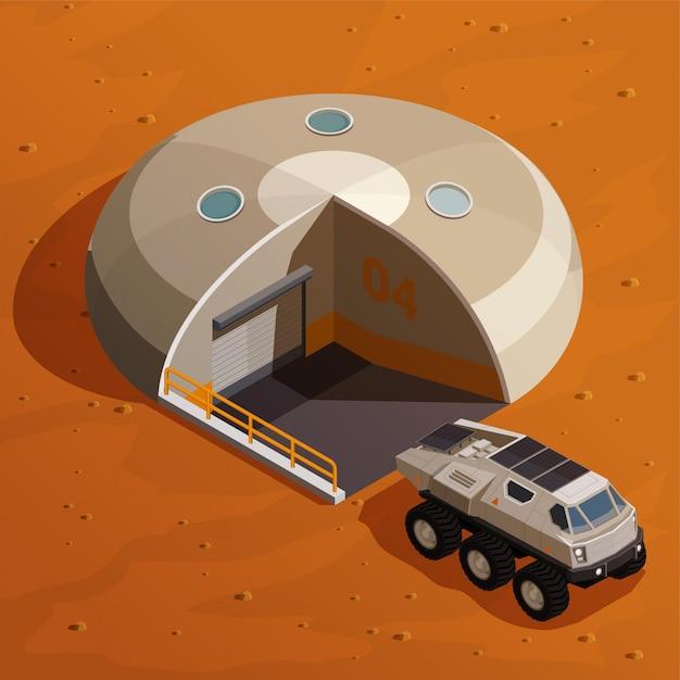 火星の景観上のコロニー基地局の近くにローバーエクスプローラーを備えた火星の植民地化等尺性概念 無料ベクター