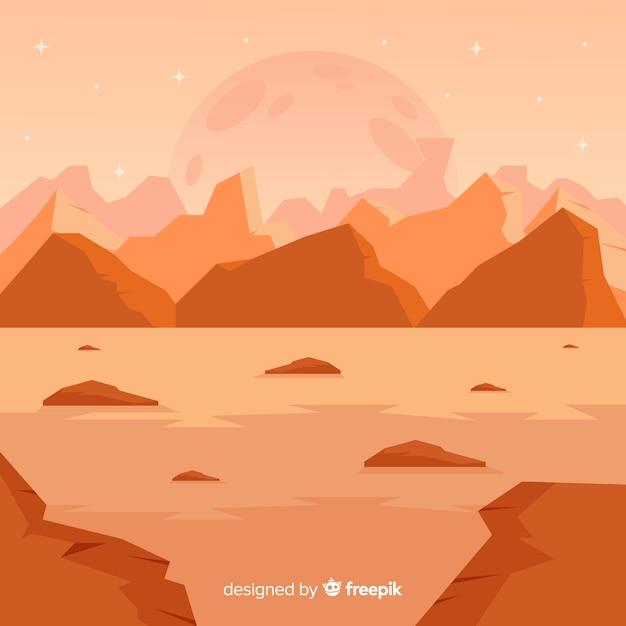 Mars desertic landscape background Free Vector