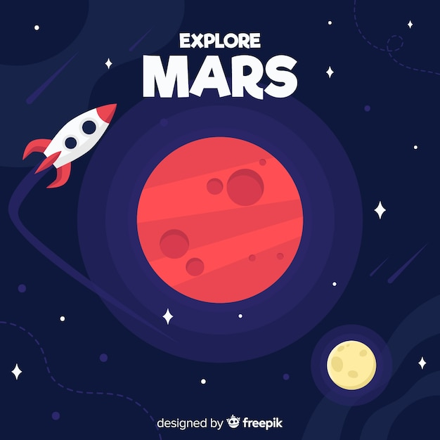 Mars exploration background Free Vector