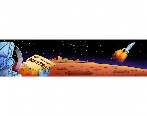Mars explorers wanted hand drawn comic style cartoon banner. Premium Vector