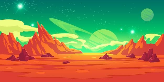 화성 풍경, 외계 행성, 화성 배경 무료 벡터