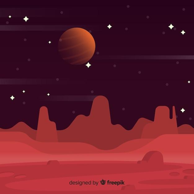 フラットデザインの火星の風景の背景 Premiumベクター