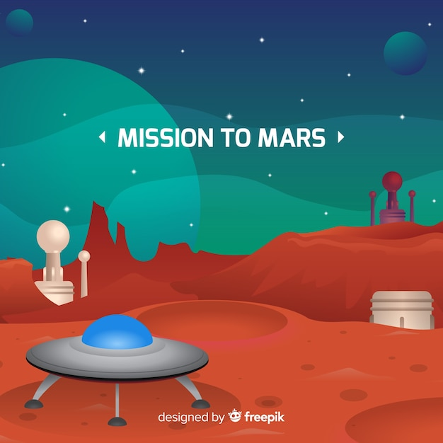 Mars landscape background with flat design Free Vector