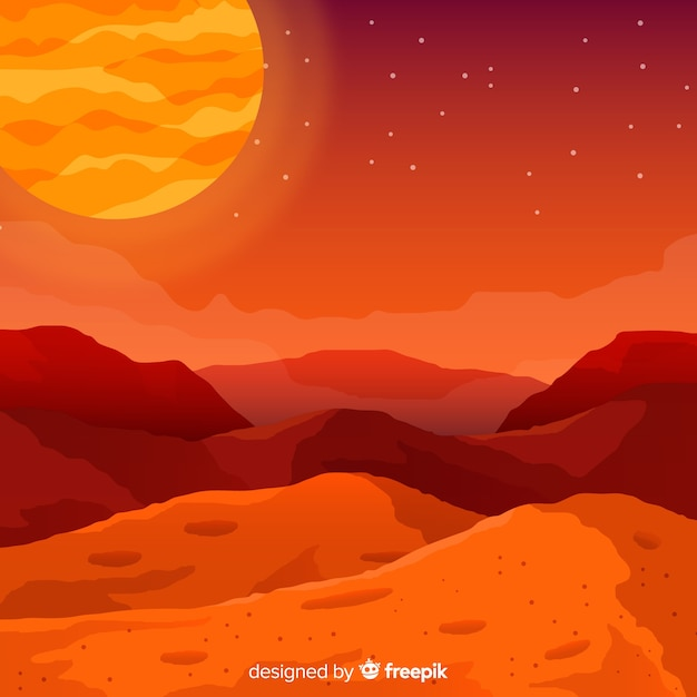 フラットデザインの火星の風景の背景 無料ベクター