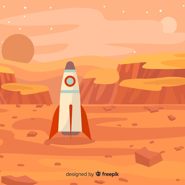 Mars landscape background Free Vector