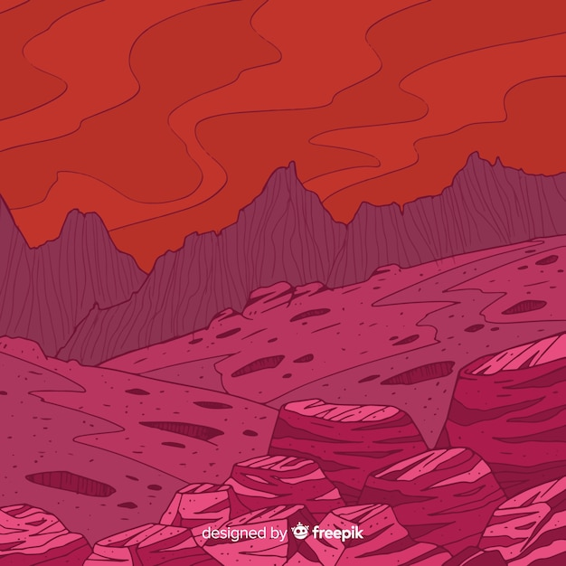 Mars landscape background Free Vector