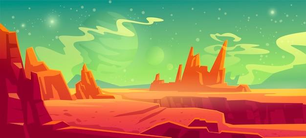 火星の風景、赤いエイリアンの惑星の背景、山、岩、深い裂け目と星のある砂漠の表面が緑の空に輝いています。火星の地球外コンピューターゲームの背景、漫画イラスト 無料ベクター