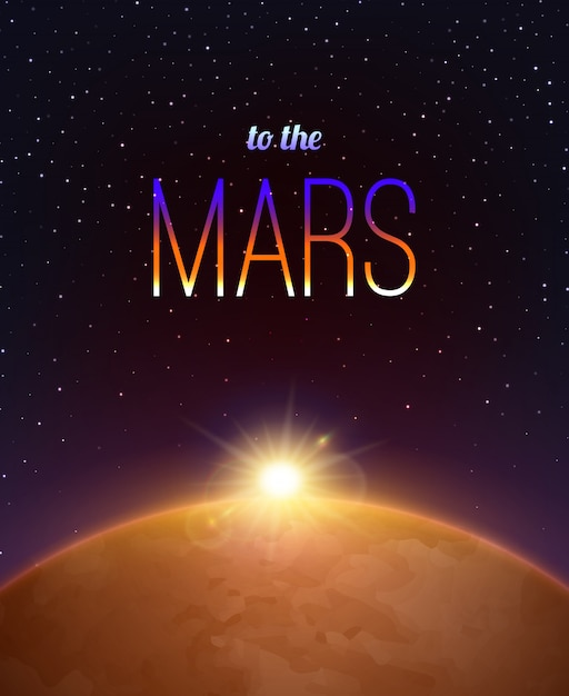 Mars realistic background Free Vector