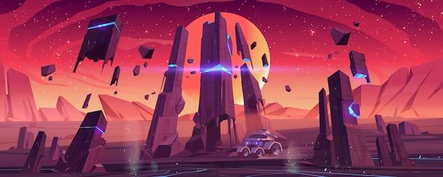 Mars rover sulla superficie del pianeta rosso esplora il paesaggio alieno. Vettore gratuito