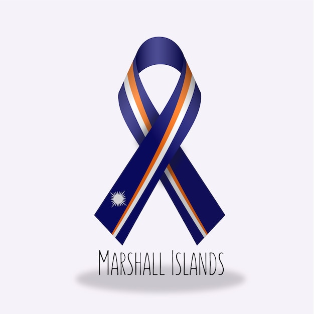 Marshal islands flag ribbon design Free Vector