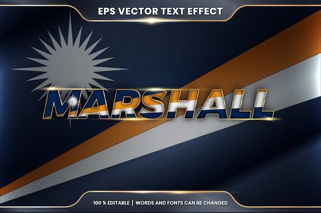 Маршалловы острова с национальным флагом страны, редактируемый стиль текстового эффекта с концепцией градиентного золотого цвета Premium векторы