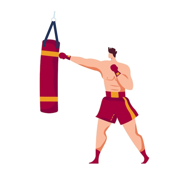 格闘技、経験豊富なボクサー、男性スポーツ、大人の戦闘機、筋肉の運動選手、デザイン漫画イラスト、白で隔離。ボックスパンチングバッグ、攻撃的な戦いに訓練されたボクシンググローブの男。 Premiumベクター
