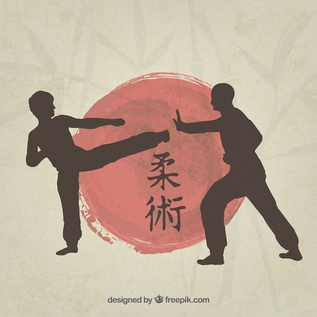 Martial art fighters silhouette Free Vector