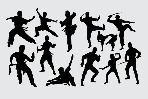 Martial art kungfu ninja silhouette Premium Vector