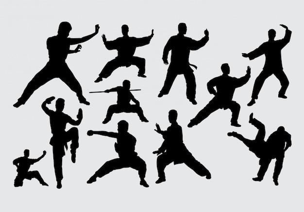 Martial art and kungfu silhouette Premium Vector